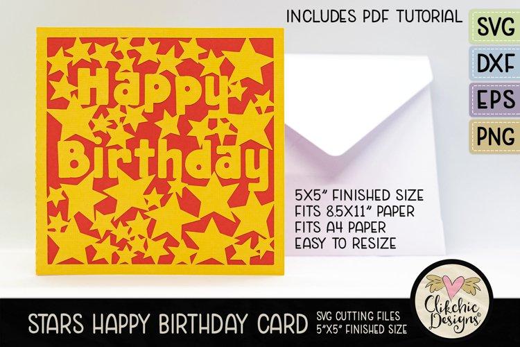 Happy Birthday Card SVG - Stars Birthday Card Cutting File example image 1