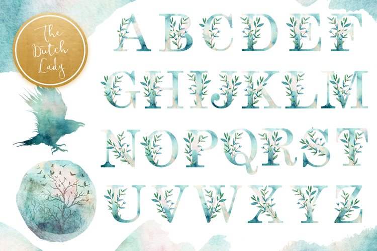 Watercolor Alphabet Clipart with Nature Elements