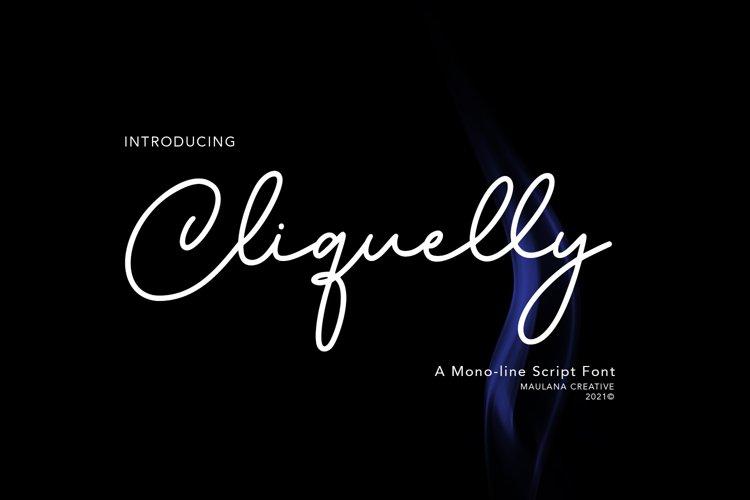 Cliquelly Monoline Script Font example image 1