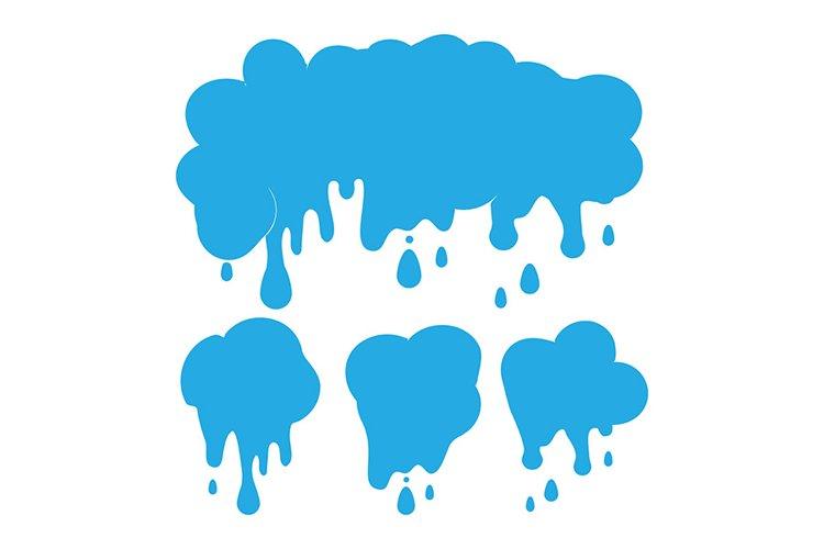 Blue rainy clouds, raining day sky, cloud set with drops