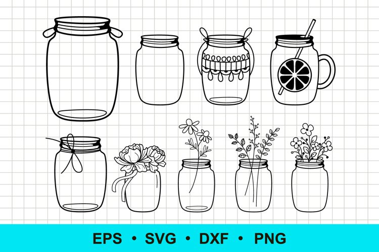 Mason Jar Flower Vector Clip Art