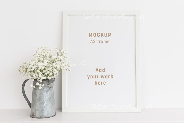 A3 frame mockup with floral styling