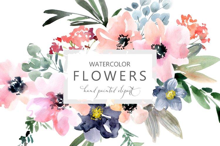 Pink Blue Watercolor Wild Flowers