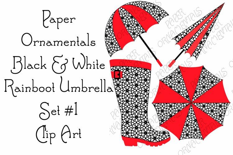 Clip Art, Black & White Rain Boot & Umbrella Clipart Set 1