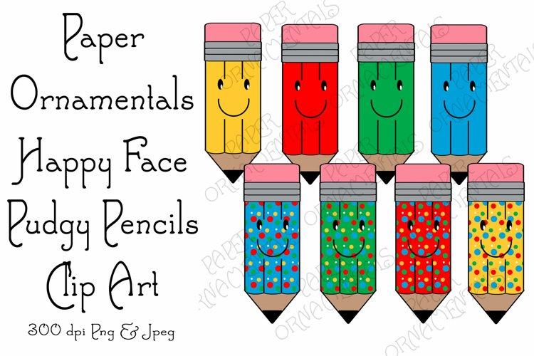 Clip Art, Happy Face Pudgy Pencils Clipart Mini Bundle