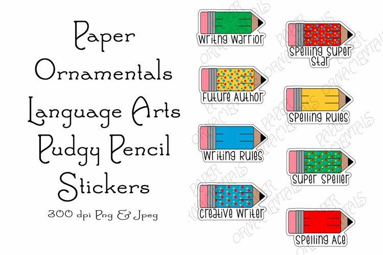 Stickers, Printable Language Arts Pencil Stickers