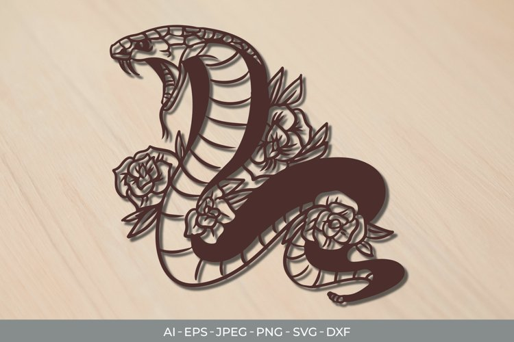 Cobra and Roses Papercut SVG example image 1