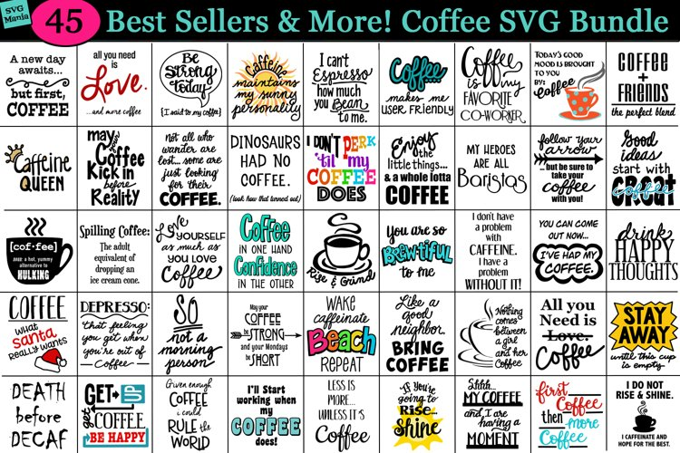 Best Seller Coffee SVG Bundle, Coffee Sublimation PNG Files