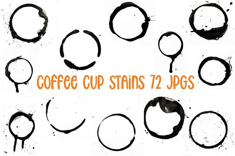 72 Coffee Tea Cup Mug Stains On White Background JPG Photos