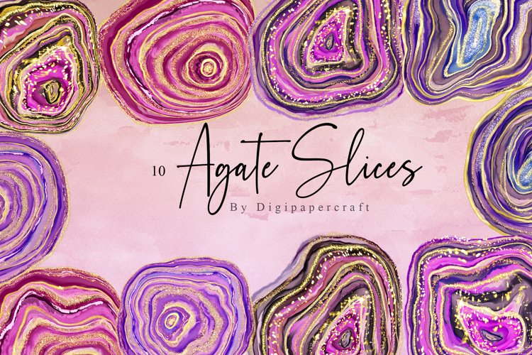 Colorful Agate Clipart, Watercolor Agate slices, Gemstones