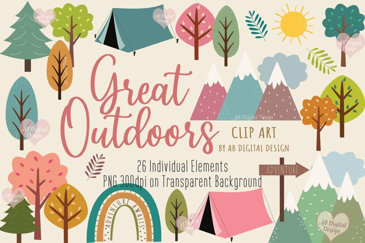 Trees, Mountains & Camping Clipart, Outdoors & Nature, PNG example image 1