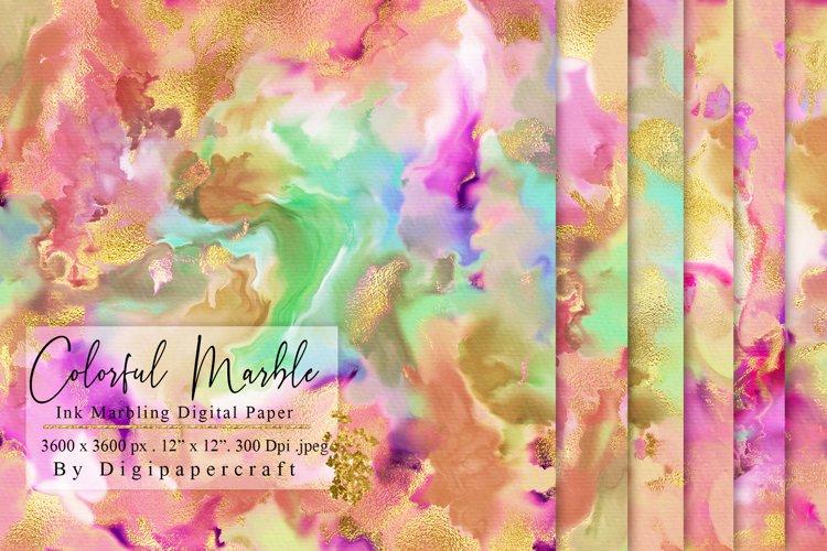 Colorful Marble Digital Paper, Ink Marbling, digital marble example image 1