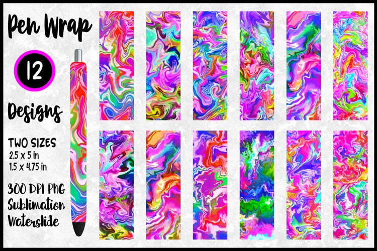 Colorful Marble Pen Wrap Sublimation Bundle / Waterslide