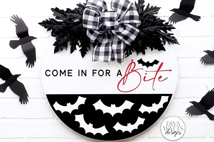 Come In For A Bite SVG   Halloween Bat / Vampire Round Sign example image 1