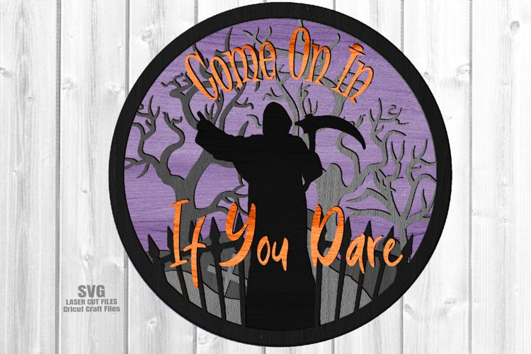 Halloween Party Round Welcome Sign SVG Glowforge Files Laser example image 1