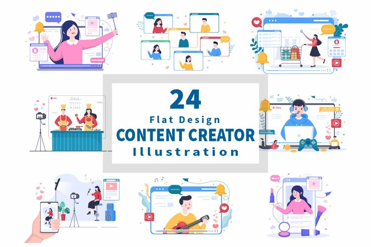 24 Content Creator Online Blogger Vector Illustration example image 1