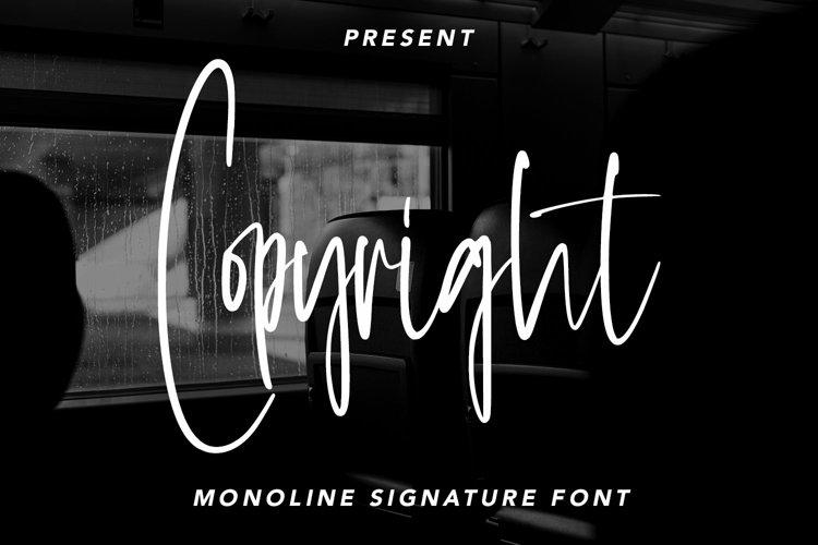 Web Font Copyright - Monoline Signature Font example image 1