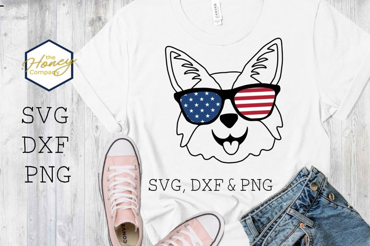 July 4th Corgi SVG PNG DXF Sunglasses Fourth of July USA