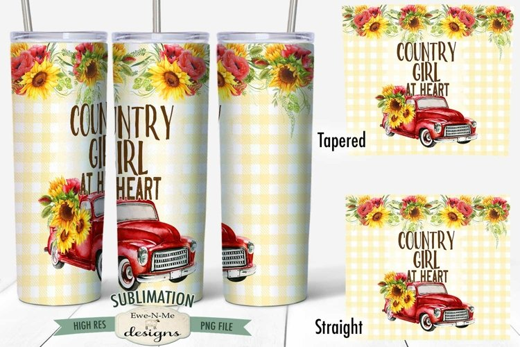 20 oz Skinny Tumbler Sublimation   Country Girl   Red Truck