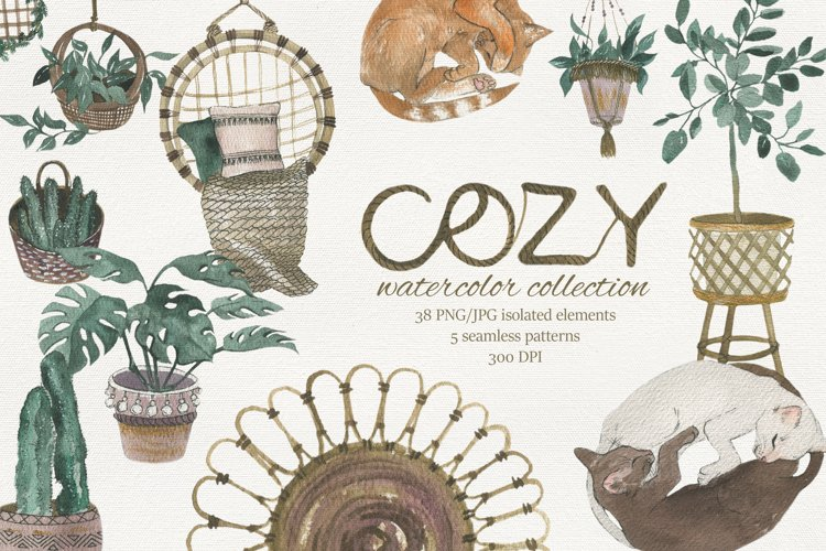 Cozy home collection. Hand drawing watercolor illustration.