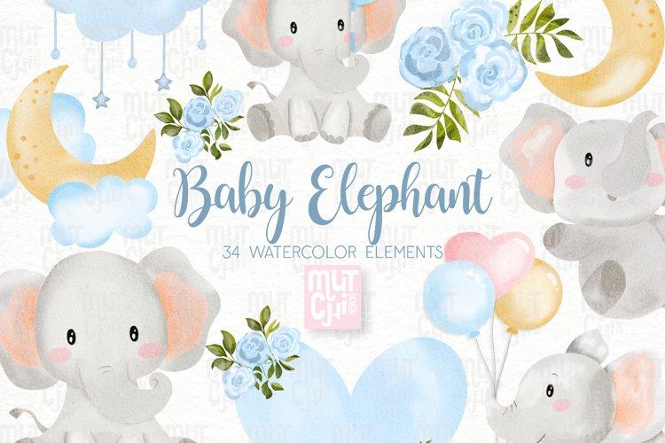 Watercolor Blue Elephant Clipart Set
