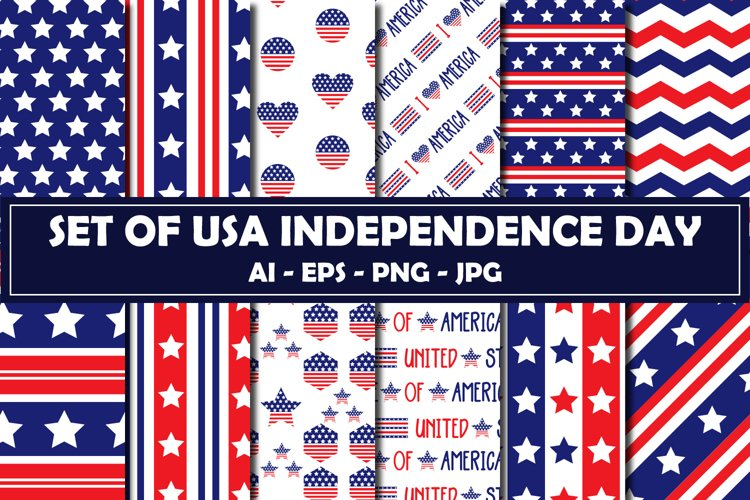 Set Of USA Independence Day Pattern example image 1
