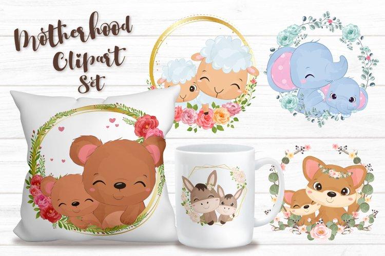 Cute Mom   Baby Animals Clipart Set