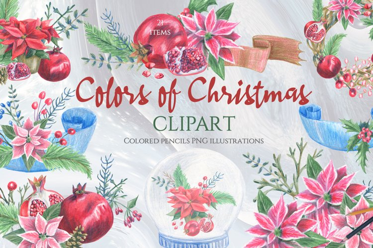 Christmas floral clipart. Merry Christmas PNG.