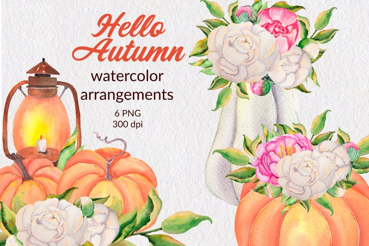 Watercolor autumn arrangements with pumpkins and flowers png
