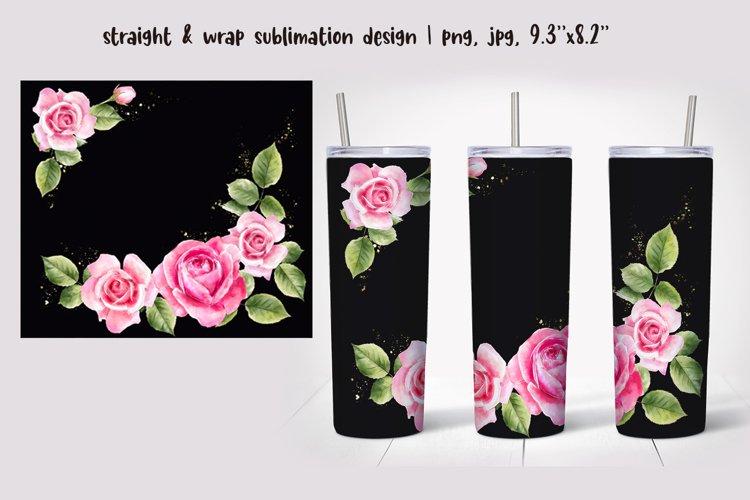 Flower tumbler design Watercolor Sublimation Skinny tumbler