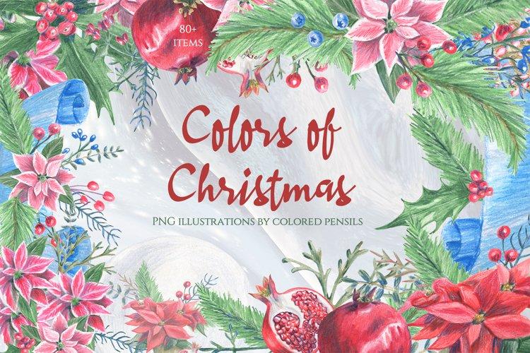 Poinsettia Christmas PNG bundle. Christmas card.