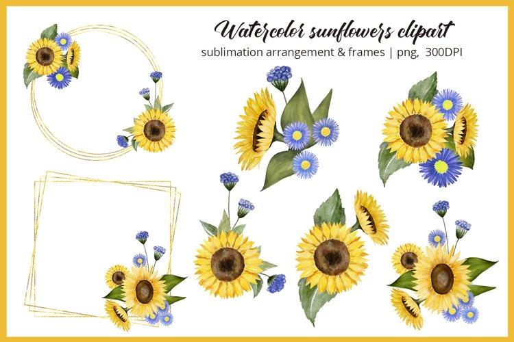 Sunflower clipart watercolor Summer floral frame bouquet PNG
