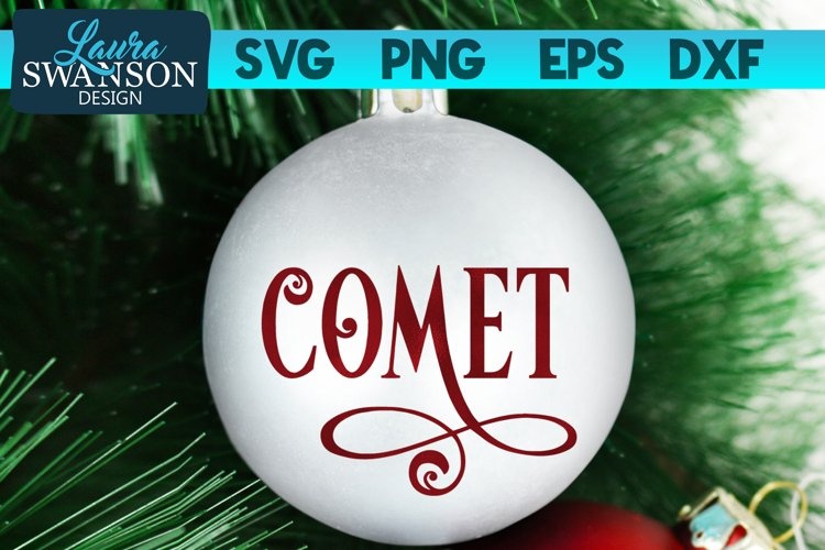 Reindeer Comet SVG Cut File   Christmas Ornament SVG example image 1