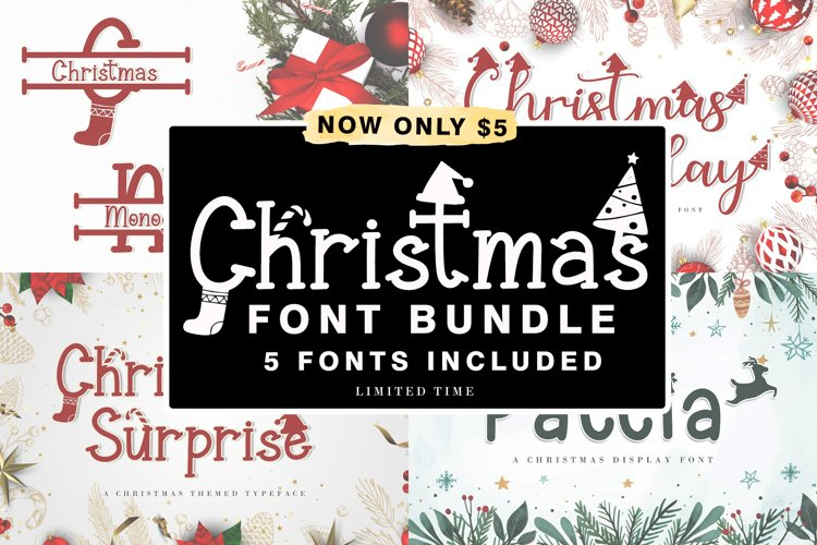Christmas Craft Font Bundle - 5 Fonts Only $5