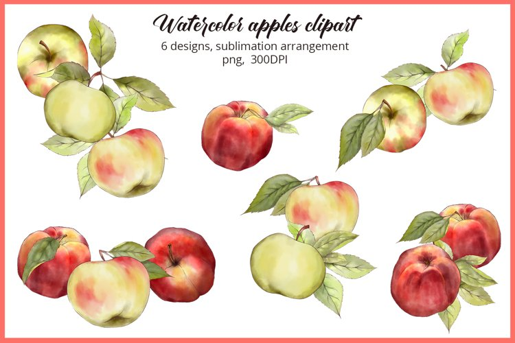 Floral sublimation Watercolor Apples PNG Apple orchard