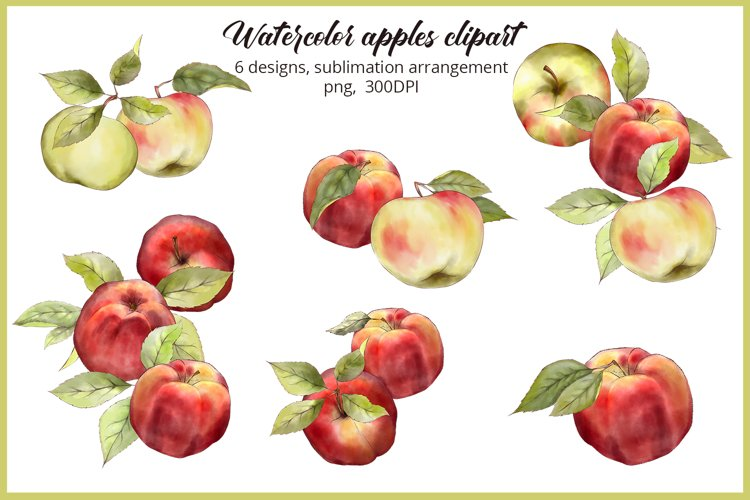 Watercolor Apples PNG Apple orchard Tshirt sublimation