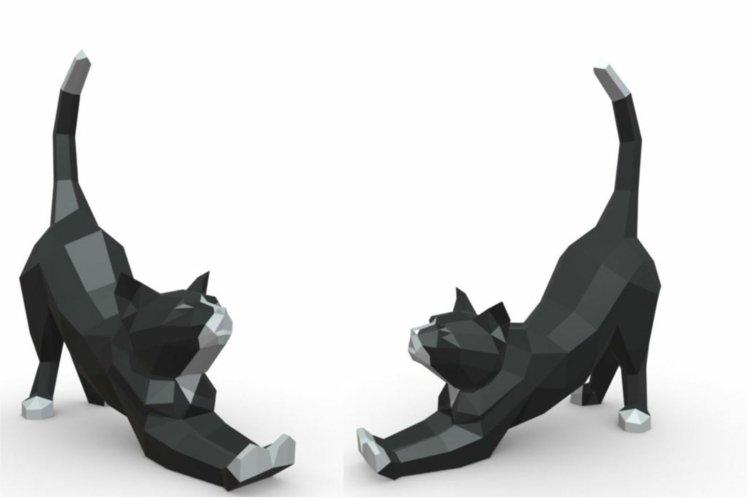 Stretchnig cat 3D Papercraft template
