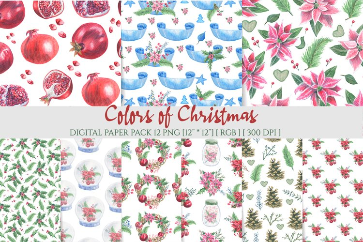 Poinsettia seamless pattern. Christmas digital background.