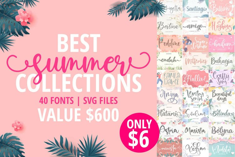 Best Summer Collections Bundles | 40 Fonts Collections