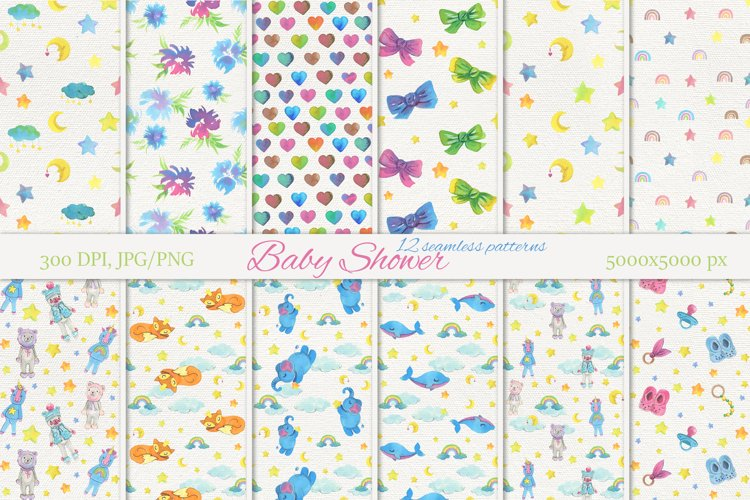 Baby Shower seamless patterns. Hand painting watercolor art.
