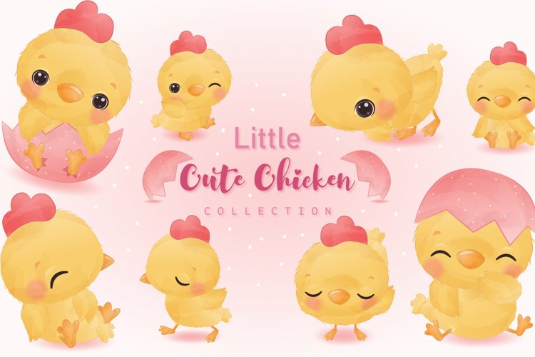 Cute Little Chicken Clipart Set example image 1