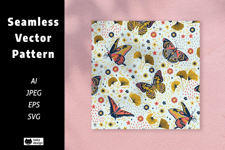 Flowers and Butterflies Vector Seamless Pattern example image 1