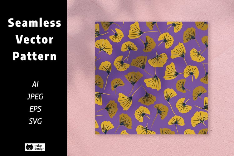 Golden Leaves Vector Seamless Pattern example image 1