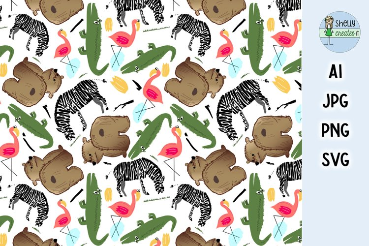 Cute Animal digital elements and repeating pattern