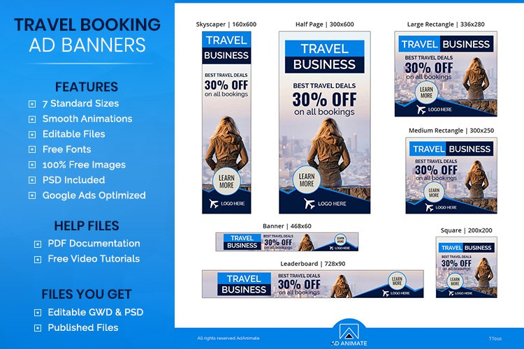 Travel Business Banner- HTML5 Ad Templates