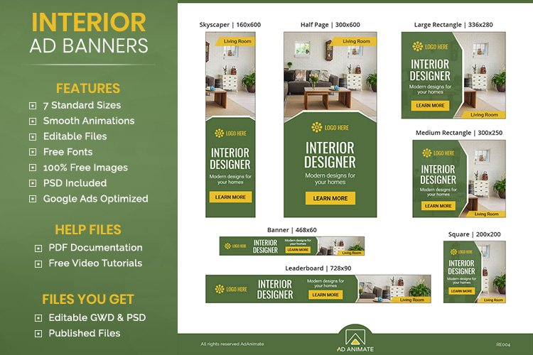 Interior Designer Animated Ad Banner Templates - HTML5