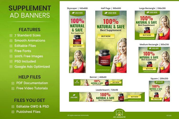 Health Supplement Banner Ad Templates - Google Ads