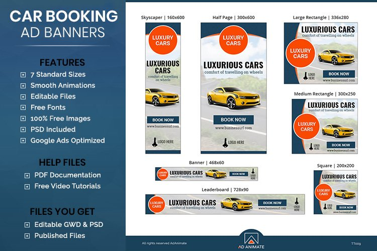 Car Booking Ad Banner Templates - HTML5 Animated Ads