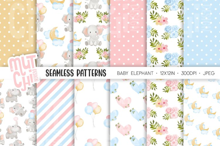 Baby Elephant Seamless Patterns
