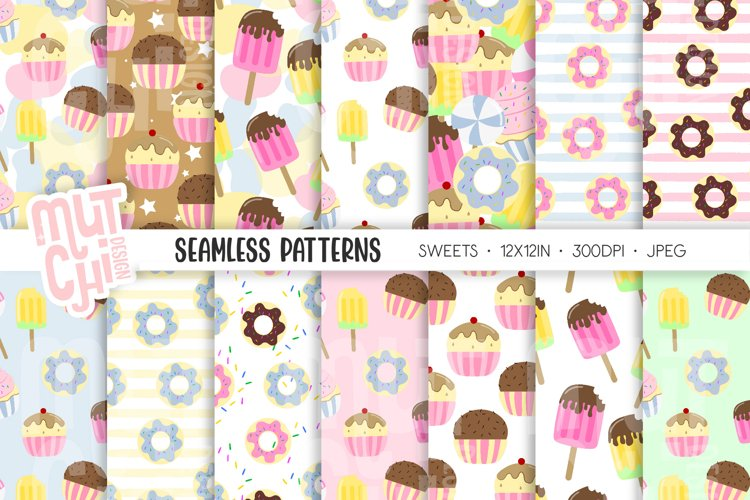 Sweets and Donuts Seamless Patterns